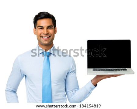 Portrait of happy businessman holding laptop over white background. Horizontal shot. - stock photo