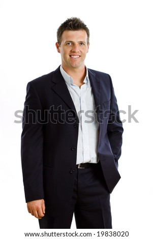 Portrait of happy businessman, smiling, isolated on white - stock photo