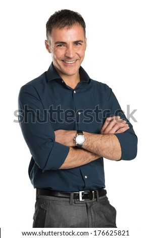 Portrait Of Happy Businessman With Arms Crossed Isolated On White Background - stock photo