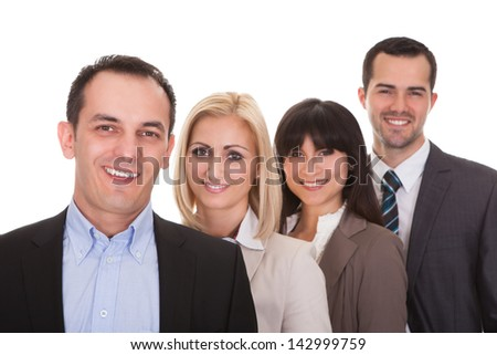 Portrait Of Happy Businesspeople Group Over White Background