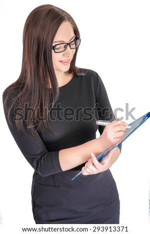 Portrait of happy businesswoman in glasses with blue folder isolated on white background. woman taking notes with pen on paper