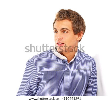Portrait of happy casual young man standing , Isolated on white - stock photo
