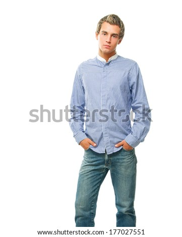 Portrait of happy casual young man standing , Isolated on white background - stock photo