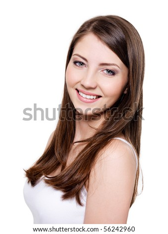 Portrait of happy cheerful beautiful woman with brown straight hair - stock photo