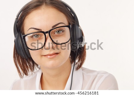 Portrait of happy cheerful support phone operator in headset - stock photo
