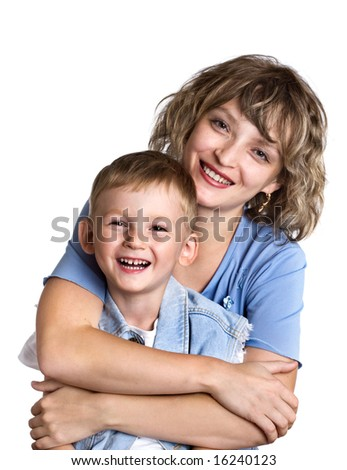 Portrait of happy child and his mother - stock photo