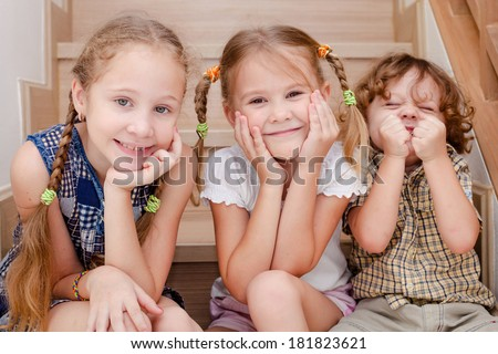 Portrait of happy children. Brother And Sister Together Forever - stock photo