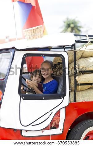 Portrait of Happy Children Having Fun Outdoors - stock photo