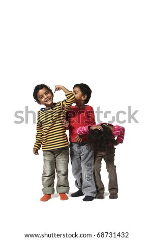 portrait of happy children Indian on a white background - stock photo