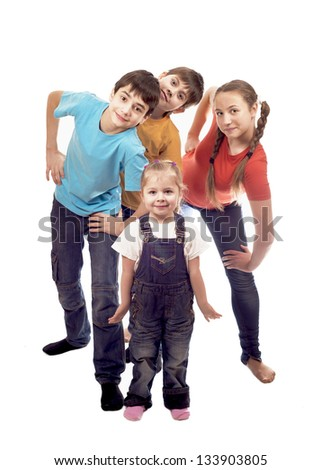 Portrait of happy children on a white background