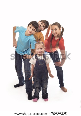 Portrait of happy children on a white background  - stock photo