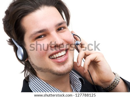 Portrait of happy confident consultant of call center talking by phone - stock photo