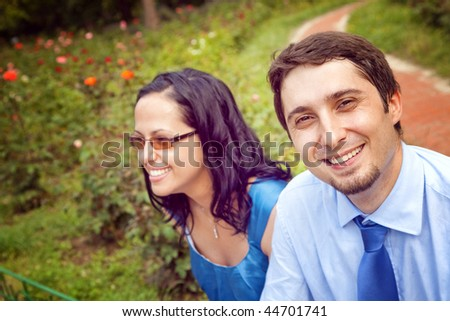 Portrait of happy content couple outdoor