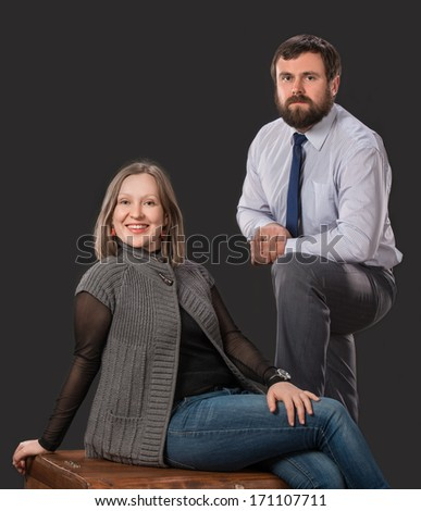 Portrait of happy couple on a white background