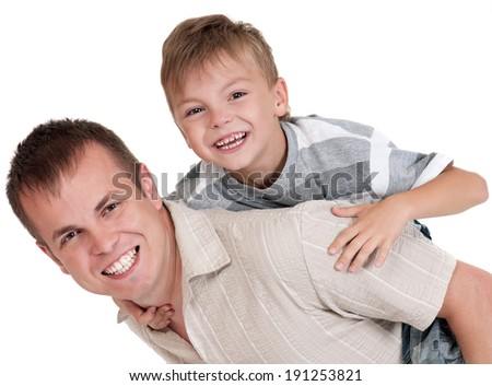 Portrait of happy dad and son isolated on white background - stock photo