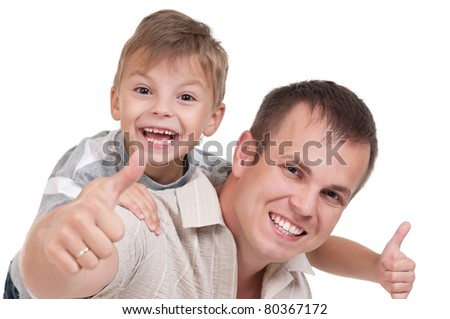 Portrait of happy dad and son isolated on white background