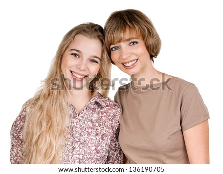 portrait of happy daughter and mother on white