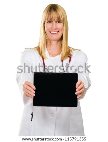 Portrait Of Happy Doctor Showing Digital Tablet On White Background - stock photo