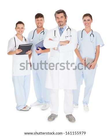 Portrait Of Happy Doctors Isolated On White Background - stock photo
