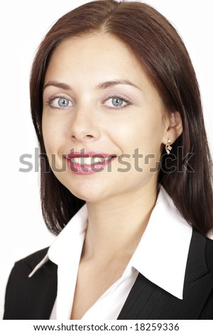 Portrait of happy employee isolated on a white background - stock photo