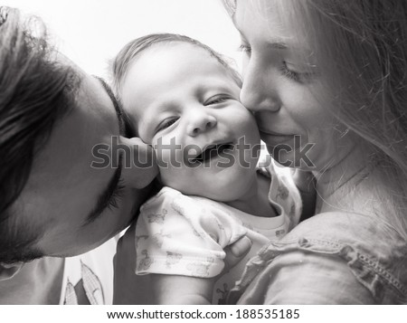 Portrait of happy family. - stock photo