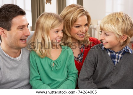 Portrait Of Happy Family At Home - stock photo
