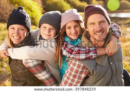 Portrait of Happy Family by Lake, California, USA - stock photo