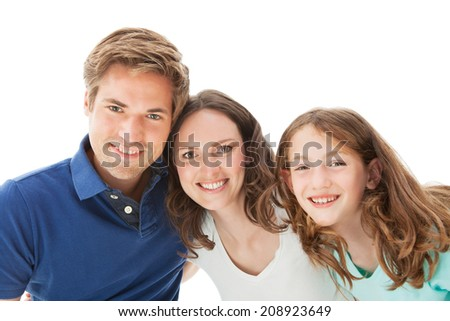 Portrait of happy family isolated over white background
