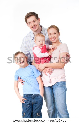 Portrait of happy family of four persons on a white background - stock photo