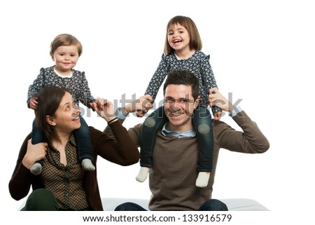 portrait of happy family playing around on couch.Isolated. - stock photo