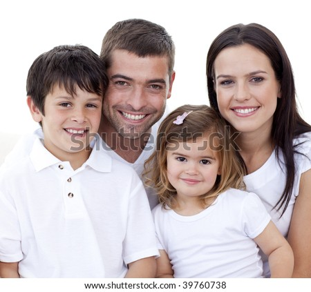 Portrait of happy family smiling at the camera