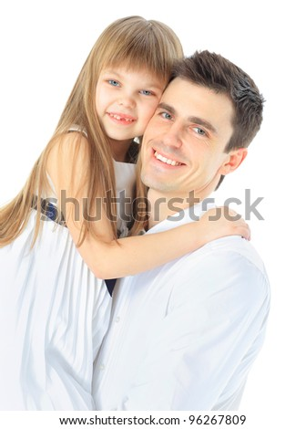 Portrait of happy father and daughter. Isolated on white - stock photo