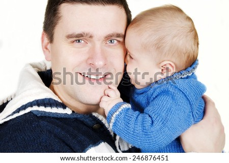 Portrait of happy father and little cute son - stock photo