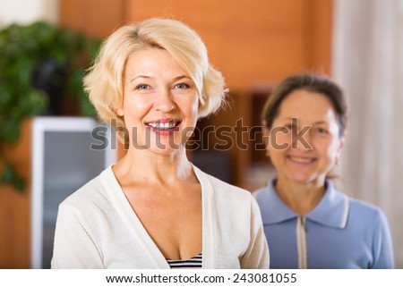 Portrait of happy female pensioners  - stock photo