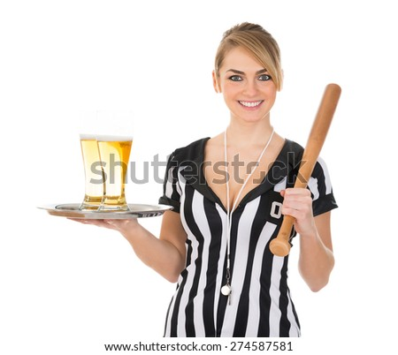 Portrait Of Happy Female Referee With Beer And Baseball Bat Over White Background - stock photo