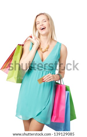Portrait of happy female satisfied with her lucky shopping
