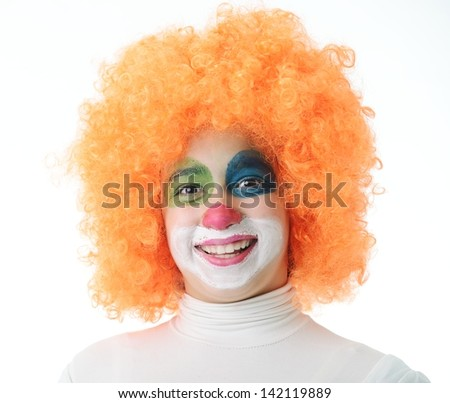 Portrait of happy funny clown girl