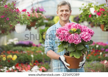 Portrait of happy gardener holding flower pot in greenhouse - stock photo