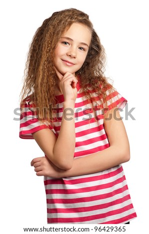 Portrait of happy girl isolated on white background - stock photo
