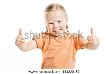 Portrait of happy girl showing thumbs up isolated over white background - stock photo