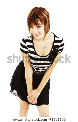 Portrait of happy girl teenager. Isolated over white - stock photo