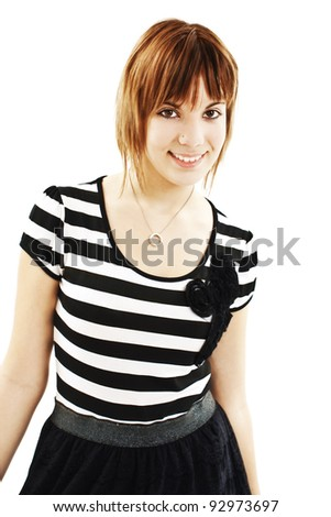 Portrait of happy girl teenager. Isolated over white background - stock photo