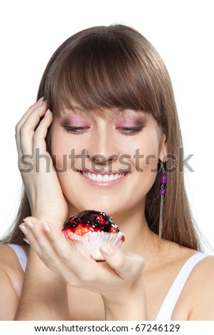 Portrait of happy girl with cake smile and look at camera isolated on white