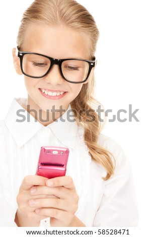 portrait of happy girl with cell phone