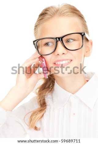 portrait of happy girl with cell phone - stock photo
