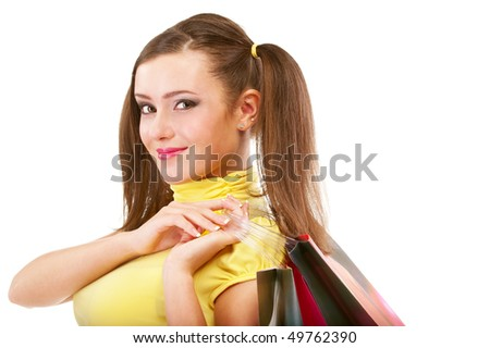 Portrait of happy girl with packages from shop, isolated on white background.