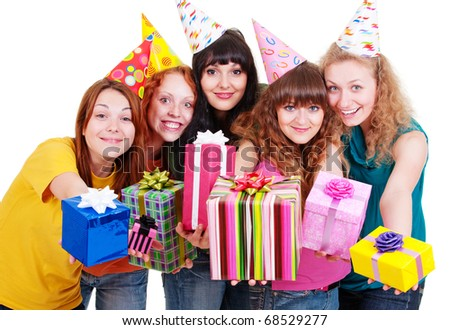 portrait of happy girls with boxes. isolated on white background - stock photo