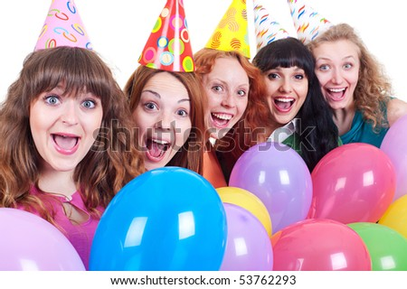 portrait of happy girls with variegated balloons over white background - stock photo