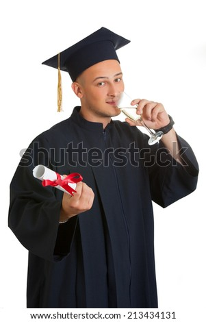 Portrait of happy graduate student drink champagne . Isolated on white