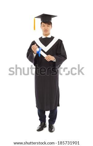Portrait of happy graduating student - stock photo